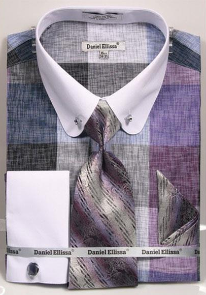 Mens Check Designed Lavender