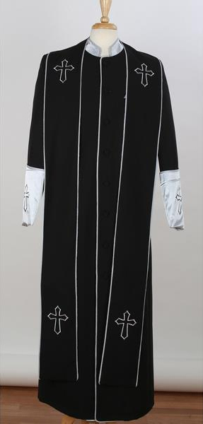Product# JSM-3867 Men's Big & Tall Church Cross Accent Robe With Stole Mandarin Black/Silver Suits