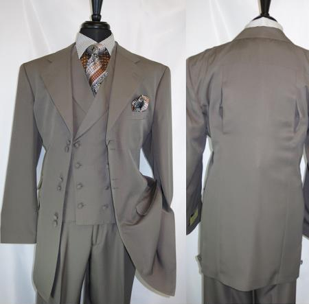 Fortino Landi 2917v Men's Notch Lapel 6 Paired Buttons Taupe Wide Matching Vested Suit