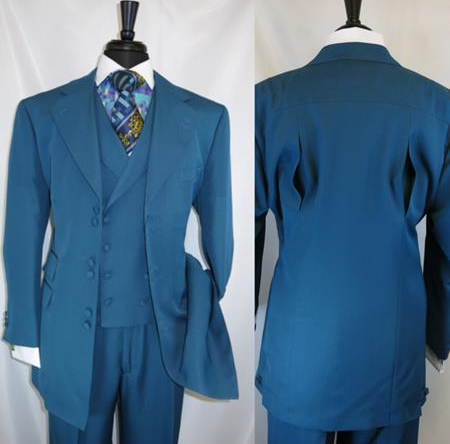 Fortino Landi 2917v Men's Notch Lapel Turquoise 6 Paired Buttons Wide Matching Vested Suit