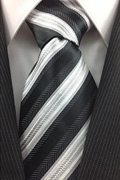 Mens Necktie Black White