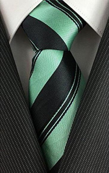 Product# JSM-4066 Men's Skinny Necktie Peal Pinstripe Black with Mint Slim Tie
