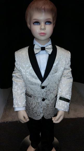 Product# JSM-4206 Kids Children Boys Tuxedo Paisley Two toned Cream