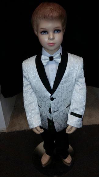 Product# JSM-4207 Kids Children Boys Tuxedo Paisley Two toned White