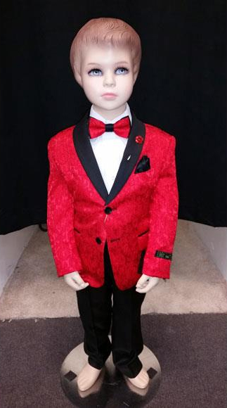 Product# JSM-4208 Kids Children Boys Red Tuxedo Paisley Two toned