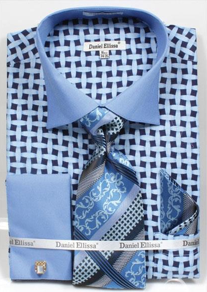 Men's Daniel Ellissa Blue Bright Net Pattern Two Tone French Cuff Dress Shirt Big and Tall Sizes Two Toned Contrast