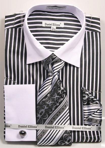 Product# JSM-4237 Men's Daniel Ellissa Stripe Pattern Two Tone French Cuff Black Dress Shirt White Collar Big and Tall Sizes Two Toned Contrast
