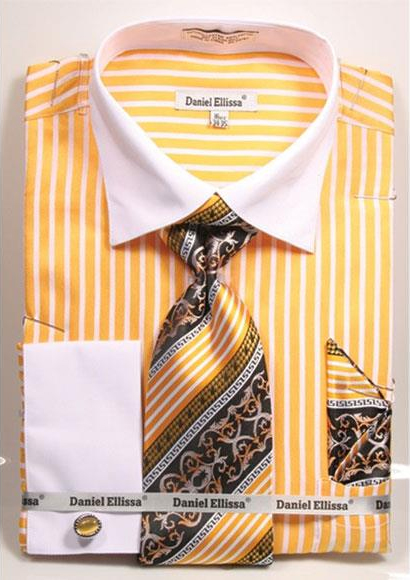 Product# JSM-4239 Men's Daniel Ellissa Stripe Pattern Two Tone French Cuff Mustard Dress Shirt White Collar Big and Tall Sizes Two Toned Contrast