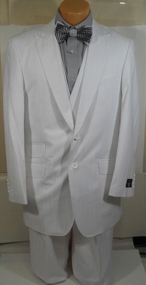 Product# 1040-42B Mens 1920s 40s Fashion Clothing Look ! White Shadow Stripe ~ Tone on Tone Peak Lapel Wide Leg Pants Vested Suit + Double breasted Style Vest Ticket Pocket