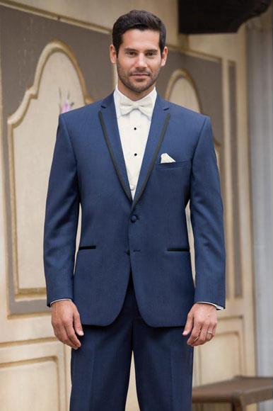 JSM-4389 Men's High Fashion Two Buttons Satin Notch Lapel Wool Modern