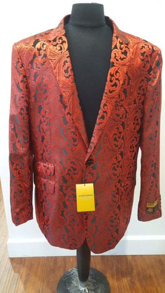 Product# JSM-4571 Floral Sportcoat ~ Paisley Jacket ~ Unique Shiny Fashion Prom~ Red Fashion Blazer For Men Dinner Jacket Tuxedo Looking