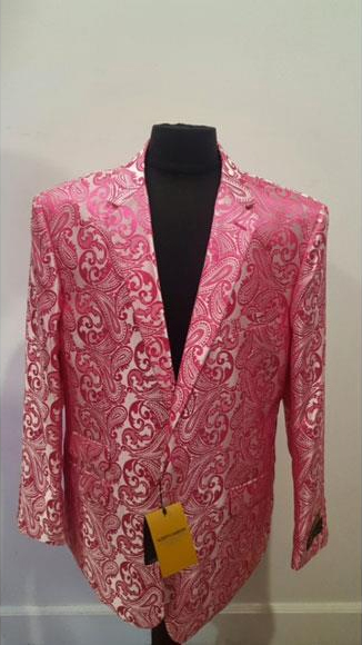 Floral Fuchsia Sportcoat ~ Paisley Jacket ~ Unique Shiny Fashion Prom~ Fashion Blazer For Men Dinner Jacket Tuxedo Looking  Perfect For Prom Clothe - Prom Outfits For Guys