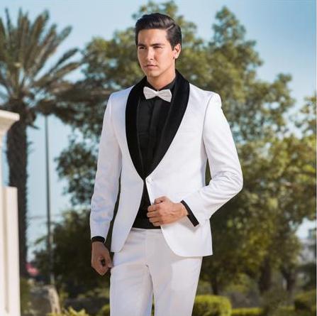 Product# JSM-4642 Single Breasted Two Toned Tuxedo White & Black Velvet Lapel Shawl Lapel Suit ( Jacket and Pants)  For Men