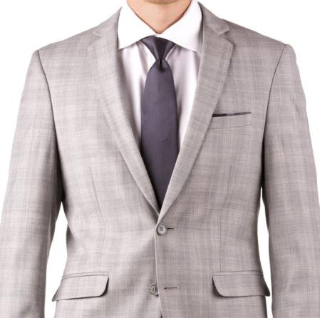 Buy Online Instead of Rental Slim Fit Notch Lapel Groom & Groomsmen Wedding Suits & Tuxedo Online + Light Gray Plaid + Free Shirt & Tie