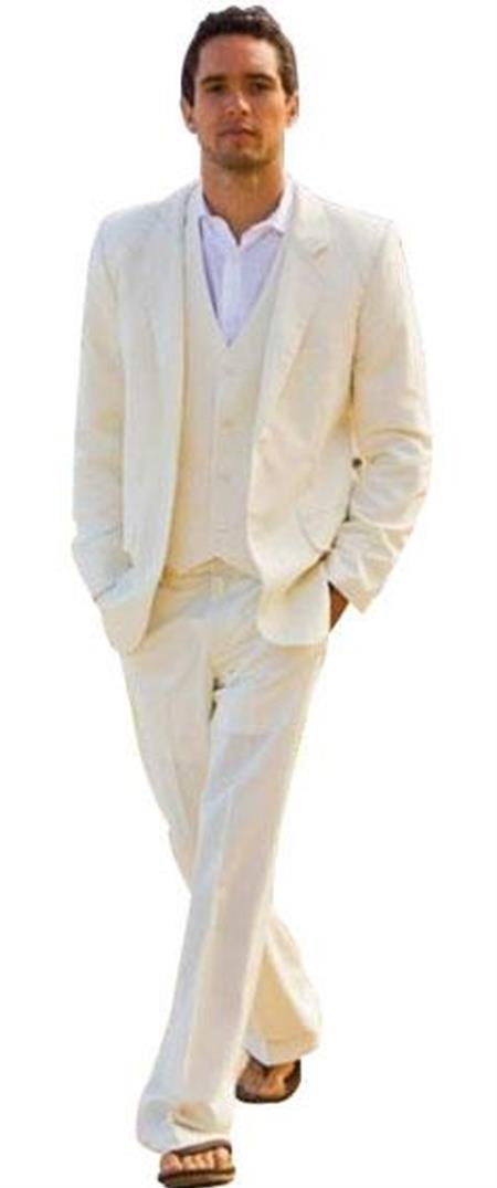 Product# JSM-4682 Alberto Nardoni Best Mens Italian Suits Brands Single Breasted Ivory ~ Cream ~ Off White 2 Button Vested 3 Piece Suit Light Wool Notch Lapel Flat Front