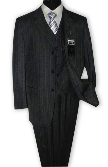 Alberto Nardoni 3 Button Vested Suits 100% Wool Suits Vested Charcoal Grey Stripe ~ Pinstripe Pleated Pants