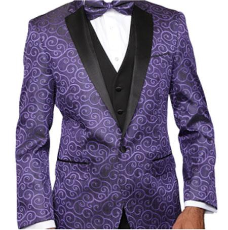 Purple Paisley-200VP Two Toned Alberto Nardoni Best men's Italian Suits Brands Paisley Sequin Blazer or Black and Purple Tuxedo Suit  Pants + Black Lapel