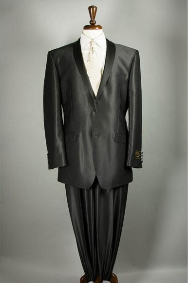 Product# JSM-4834 Mens Shiny Flashy Sharkskin Black Suit 2 Buttons Style Tuxedo Suit Sateen Lapel Available