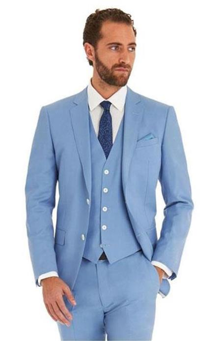 JSM-5990 Mens Sky Blue Powder Blue ~ Ocean Single Breated 2 Button Suit