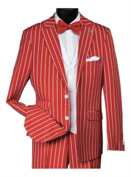 Men's Dark Red & White Pinstripe 2 Button Notch Lapel Vested Suit