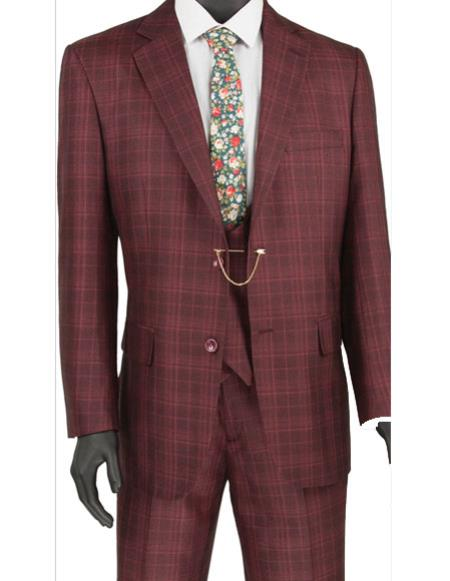 Product# CH2482 Mens burgundy plaid Double Breasted vest 3pc regular fit suit