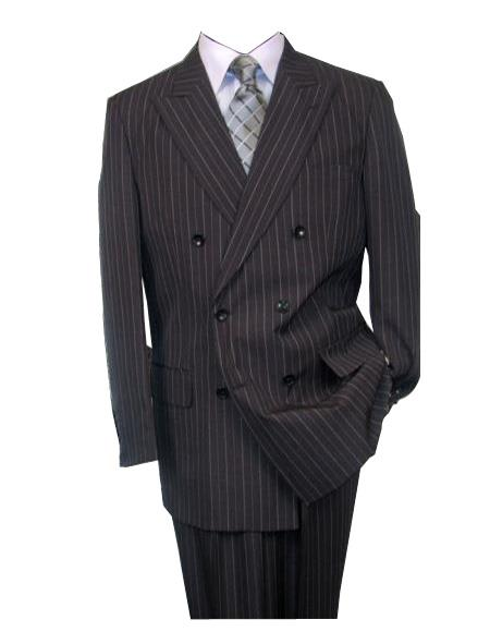 Product# GD1657 Men's Charcoal Double Breasted Wool Peak Lapel Stripe Suit