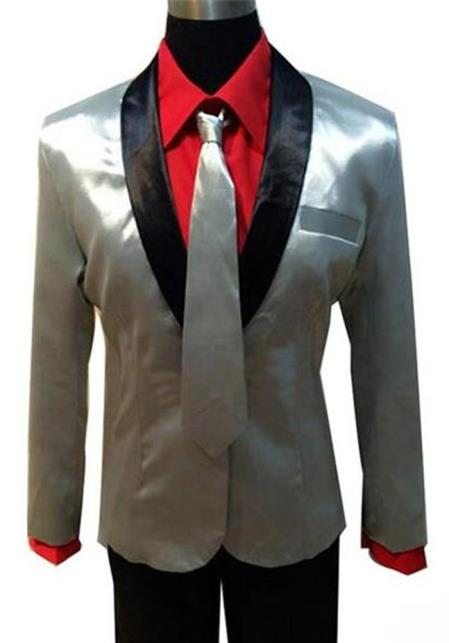 MO433 Mens Single Breasted Shawl Lapel Silver Suit