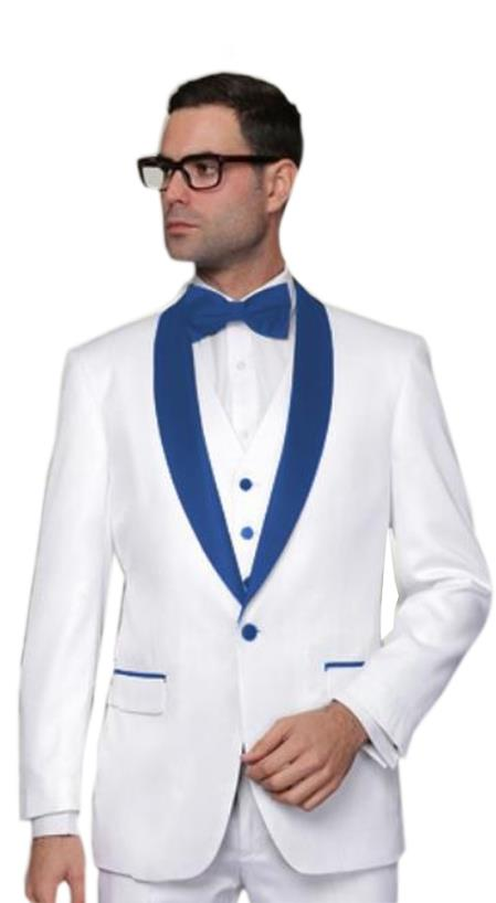 Product# Tux-SH Alberto Nardoni Brands Best Mens Italian Suits White and Royal Blue Suit For Men Perfect  Lapel Shawl Collar Tuxedo Vested  3PC 3 Pieces Suits Wool 1 button suit