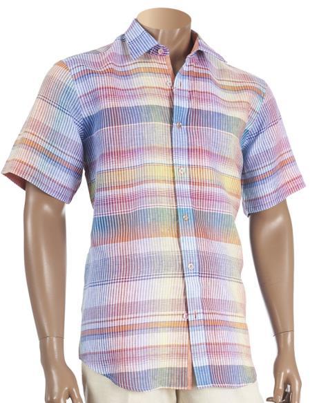 Inserch Mens Linen Multicolor