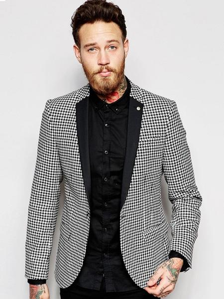 Product# MO595 Mens Single Breasted Houndstooth Designed Notch Lapel Black ~ White Blazer