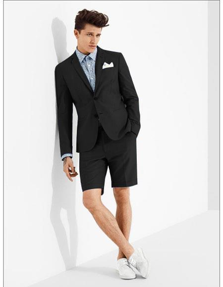 Product# MO604 men's summer business suits with shorts pants set (sport coat Looking) Black