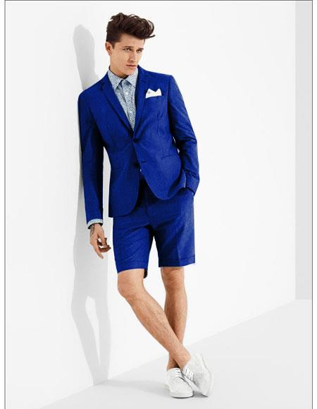 Product# MO615 men's summer business suits with shorts pants set (sport coat Looking) Royal Blue Suit For Men Perfect