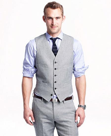 Product# GD1839 Men's 2 Piece Linen Causal Outfits Vest & Pants / Beach Wedding Attire For Groom