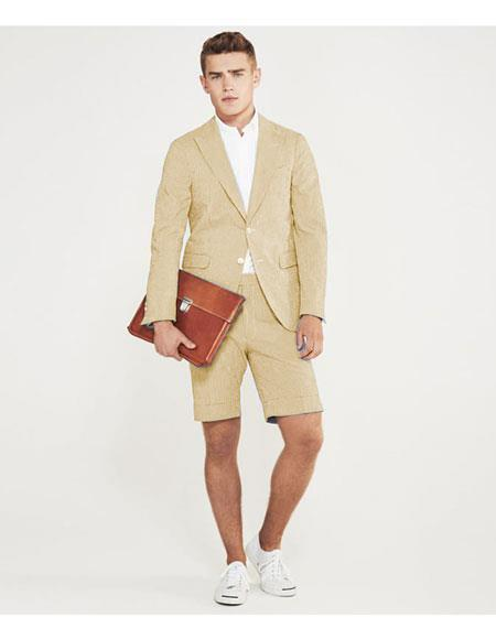 men's summer business suits with shorts pants set (sport coat Looking) Ivory