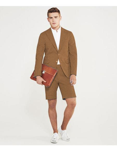 Product# MO626 men's summer business suits with shorts pants set (sport coat Looking) Tan