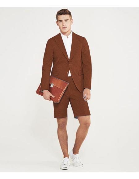 Product# MO630 men's summer business suits with shorts pants set (sport coat Looking) Brown