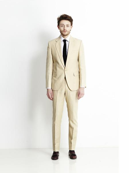 men's Single Breasted Notch Lapel Beige Men's 2 Piece Linen Causal Outfits Suit / Beach Wedding Attire For Groom