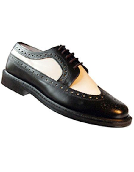 Product# EK42 Men's Lace Up Black~White Thin Leather Sole Shoes