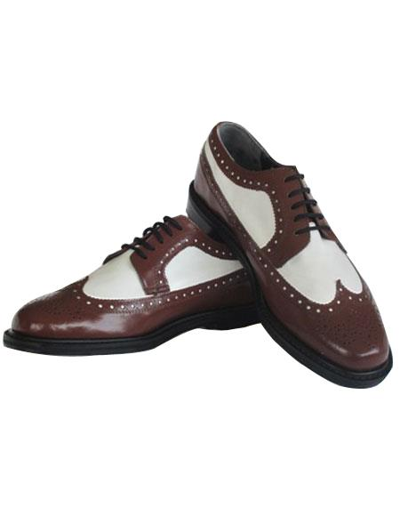 Product# EK43 Men's Thine Leather sole 5 Eyelet Lacing Brown~White Shoes