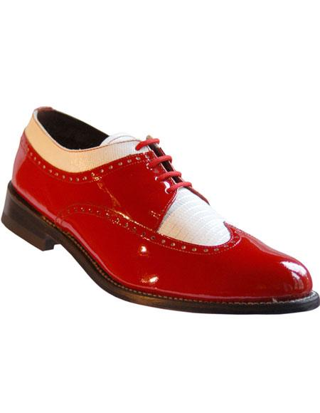 Men's Leather Cushion Insole Wingtip Red~White 1920s style fashion men's shoes