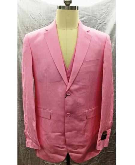 Product# GD1852 Men's Single Breasted Men's 2 Piece Linen Causal Outfits 2 Button Notch Lapel Pink Vest Suit / Beach Wedding Attire For Groom