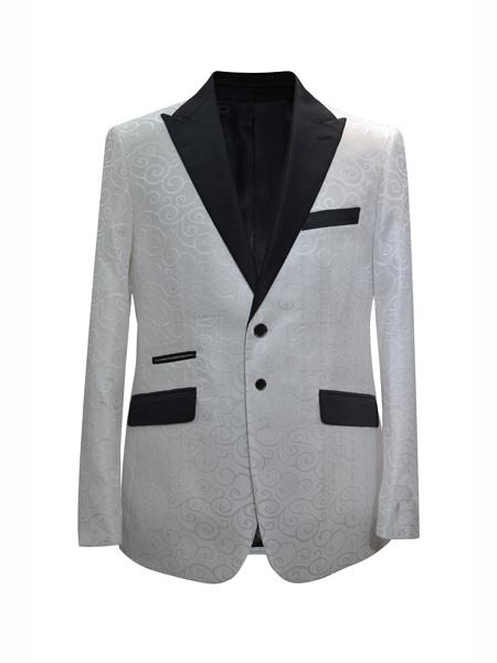 Product# MO653 Mens 2 Button Fashion Designed Peak Lapel White Sport Coat Blazer