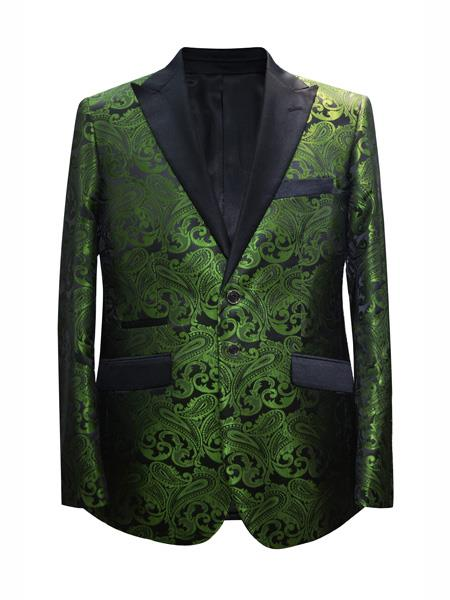 Product# MO659 Mens 2 Button Paisley Designed Peak Lapel Dark Green ~ Hunter Sport Coat Blazer