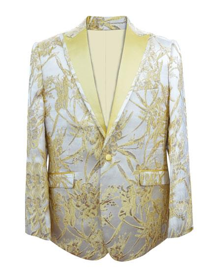 Product# GD1859 Men's Single Breasted 1 Button Paisley Gold Sport Coat Blazer ~ Suit Jacket