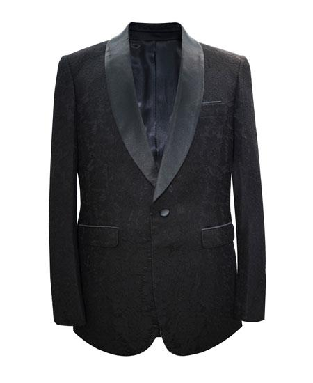 Men's Black Shawl Lapel Single Breasted 1 Button Sport Coat Blazer