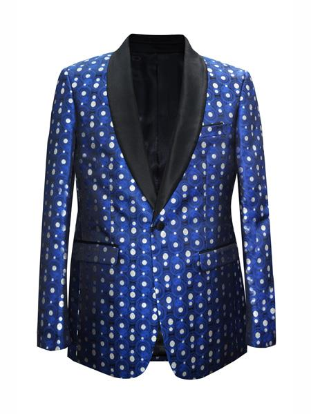men's One Button Dot Designed Shawl Lapel Royal Sport Coat Blazer