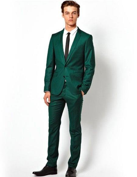 Product# EK71 Men's Single Breasted Two Button Notch Lapel Green Suit for Men