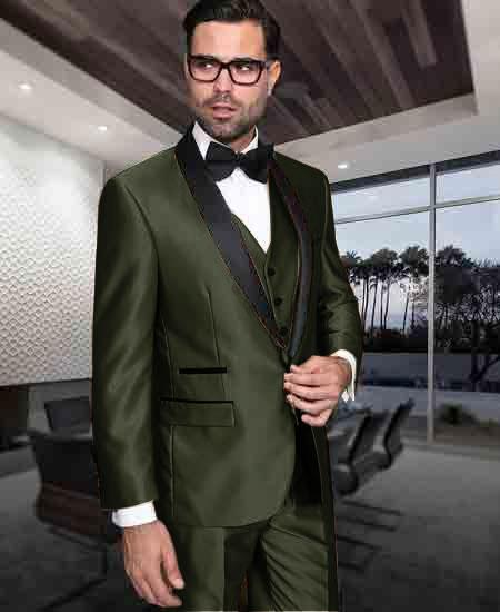 Men's 1 Button Shiny Flashy Tuxedo Modern Fit Vested Suit for Men Dark Olive Green