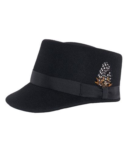 Product# GD1886 Men's Black Removeable Feather Accent 100% Wool Hat