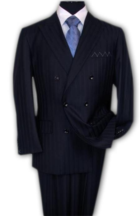 TY56 TS-32 Signature Platinum Stays Cool Discounted Online Sale NAVY Superior Fabric 150'S EXTRA FINE DOUBLE BREASTED SUIT HAND MADE